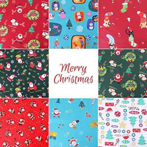 Gukasxi 8 piezas de tela de algodón de Navidad de 50x50 cm cuadrados para acolchar patchwork costura artesanal Fat Quarter Bundle Santa Claus patrones para Xmas Año Nuevo IDY Craft Gifts Dressmaking