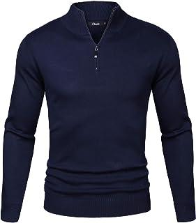iClosam Men Half Zip Jumper,Men's Set-in Classic Sweater Pullover Jumper Knitwear