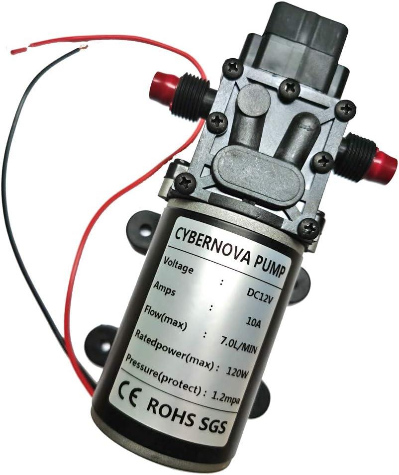 CYBERNOVA DC12V 7L/min 174 PSI agua dulce de agua de alta presión de diafragma autocebante Bomba de camping/Barco/RV/jardín/Limpieza de vehículos/autocaravanas