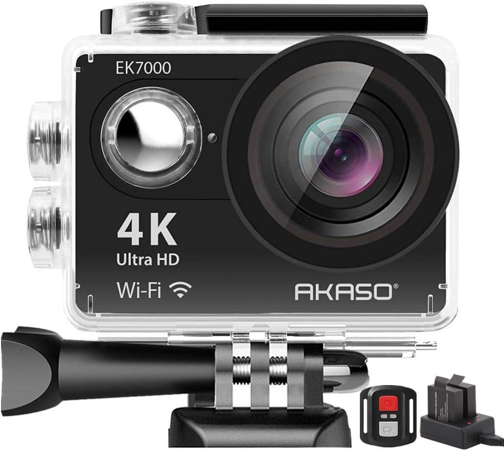 AKASO EK7000 4K WiFi Action Camera Ultra HD 30m Underwater Waterproof Camera Remote Control Underwater Camcorder with 2 Batteries and Helmet Accessories Kit (2021 Version) : Electronics