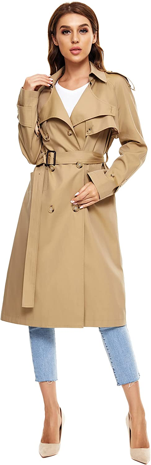 WAIDONGBEI Women's San Diego Mall Discount mail order Trench Coat B Double-breasted Rain with