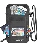 Neck Wallet Travel Pouch RFID Blocking, Money Credit Card Passport Holder with Neck Strap, Anti-Theft Security Traveling Pouch for Women, Men, Kids, Waterproof (Grey)