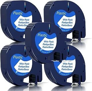 Unistar – Cinta de Etiquetas Compatible para Usar en Lugar de Dymo LetraTag 91201 S0721610, 5x Plastico Negro sobre Blanco 12mm x 4m para Dymo LetraTag LT-100H LT-100T LT-110T QX 50 XR XM 2000 Plus