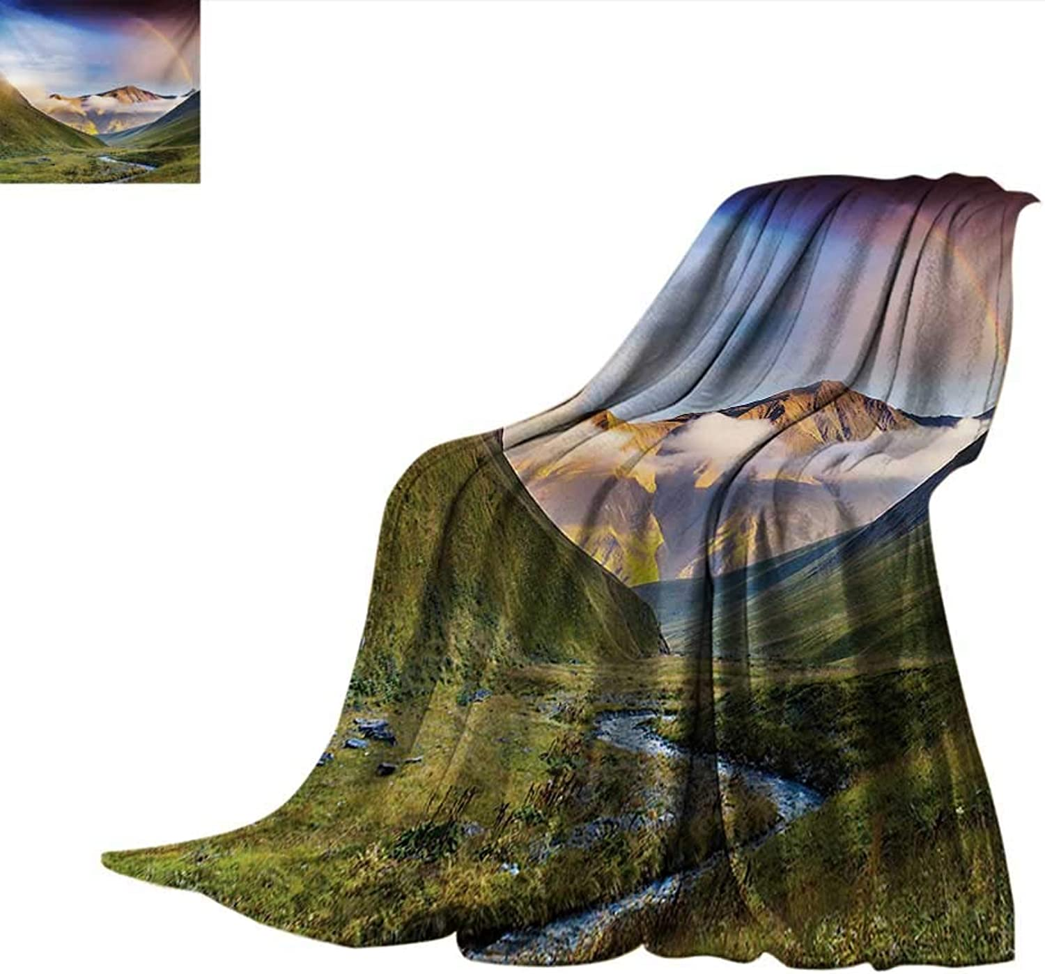 LandscapeFlannel Single Student blanketSerene Meadow with Narrow Riverbed Mountains Rainbow Grass Clouds Mist at DaytimeStudent Blanket 80 x60  Multicolor