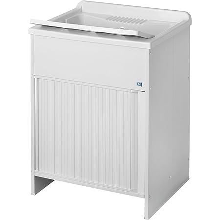 Negrari 4002K Meuble avec lavabo et planche de lavage, ouverture à volet PVC Blanc 60 x 50 x 85 cm