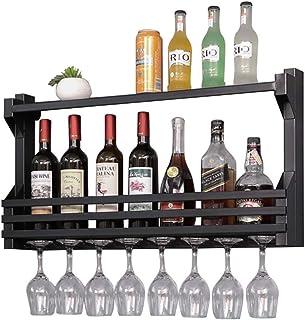 ZHXYY Organiser la Cuisine Supports à vin muraux Noirs/dorés Porte-Bouteilles de vin en métal Rangement Tenture Murale Éta...