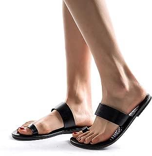 Womens Leather Slip On Beach Flip Flops Shoes Strap Gladiator Toe Loop Flat Sandals (US:7, Black)