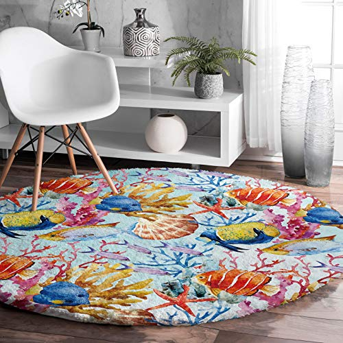 Soft Comfy Area Rugs for Bedroom Living Room, Underwater World Fish Coral Starfish Nautical Fluffy Round Plush Rug Non-Slip Indoor Mats for Bedroom, Home Decor Floor Circle Mat, 3ft