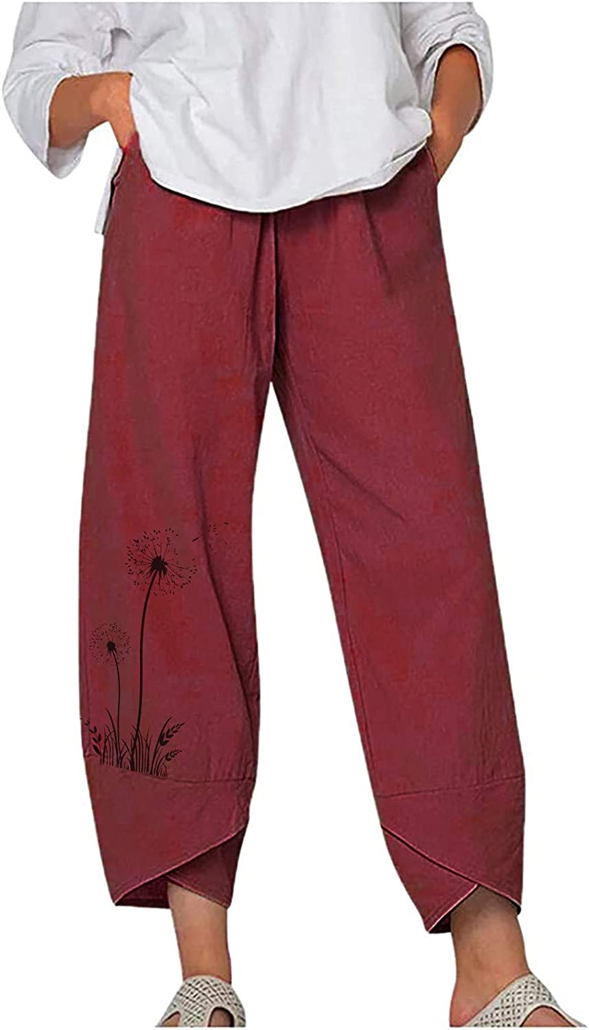 Linen Pants for Women, Summer Wide Leg Solid Color Pants Casual Loose Embroidered Trousers Cropped Pants