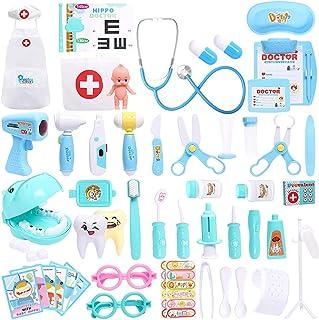 مجموعة ألعاب لأطباء الأطفال مكونة من 39 قطعة، مجموعة لعب طبية، ألعاب لعب ممرضات طبيب الأسنان، مع أزياء سماعة كهربائية تلبي...