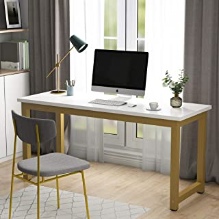Tribesigns Modern Computer Desk, 63 inches Large Office Desk Computer Table Study Writing Desk Workstation for Home Office, White Gold Metal Frame