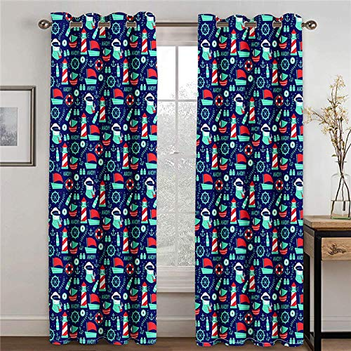 ZFSZSD Eyelet Blackout Curtains Cartoon & Pattern Blackout Curtains Block Out 98% Sunlight Reduce Noise Protect Privacy Tie Backs Not Included 2 x W46 x L72 Inch