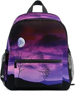 Mini Kids Backpack Daypack Bright Moon Tree Midnight Werewolf Pre-School Kindergarten Toddler Bag for Travel Girls Boys
