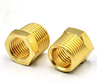 Tailonz Pneumatic Brass Threaded Pipe Fitting 1/4 Inch NPT Male x 1/8 Inch NPT Female Hex Bushing Adapter (10Pcs)