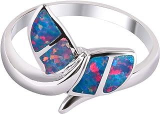 Anelli KELITCH per donna ragazza 925 sterling silver placcato ovale blu opale sintetico solitario anello da donna # 5E-9