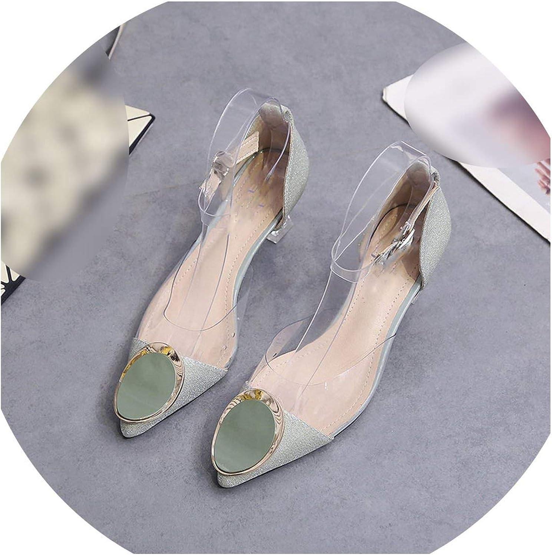 Women Sandals Sequins Transparent Strap Party Summer Pointy high Heels Gladiators