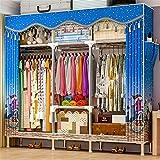 Closet Storage Closet Clothes Portable Tela de Tela y Barra Colgante Rápido y fácil de Montar Armario Almacenamiento Portátil Organizador de Almacenamiento Wardrobe Closet Organizer Shelf Wardrobe