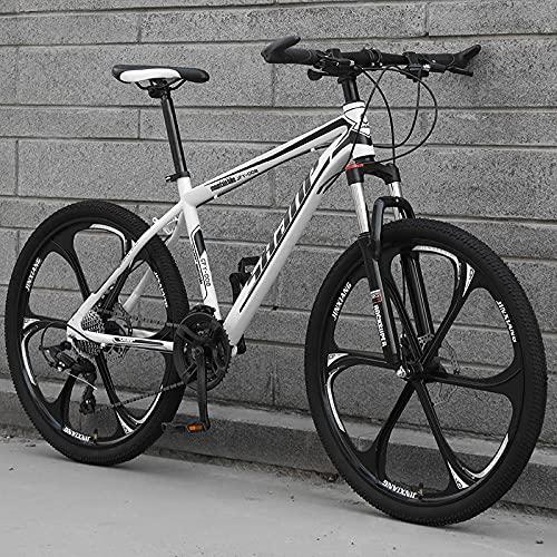 Bicicleta De Montaña, Adulto Todoterreno, Bicicleta De Cambio, Doble Amortiguación, Estudiante Bicicleta-[Versión Superior] Seis Cuchillos - Blanco Negro_27 Velocidad (por Defecto De 26 Pulgadas),