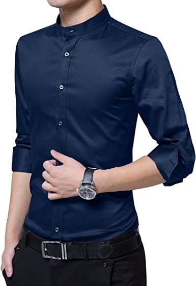 Camisa de Vestir Casual para Hombre Camisas Steampunk Blancas y Negras de Vino Negro Camisa de Manga Larga Slim Fit con Cuello Abotonado con Cuello ...