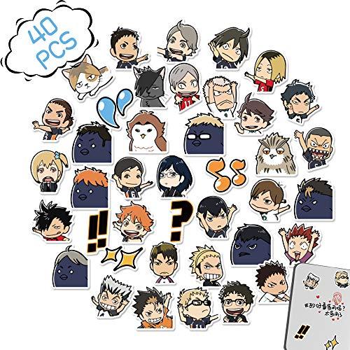 40PCS Haikyuu Aufkleber Nette Anime Doodle PVE Aufkleber Aufkleber Gekritzel Aufkleber Anime, Wasserdichter Cartoon-Aufkleber zum Flasche Laptop Telefonkasten Skateboard