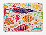 Ambesonne Sea Animals Bath Mat, Art Fish Seahorse and Starfish with Dolphin Coral Inspired by the Underwater Life Work of Art, Plush Bathroom Decor Mat with Non Slip Backing, 29.5