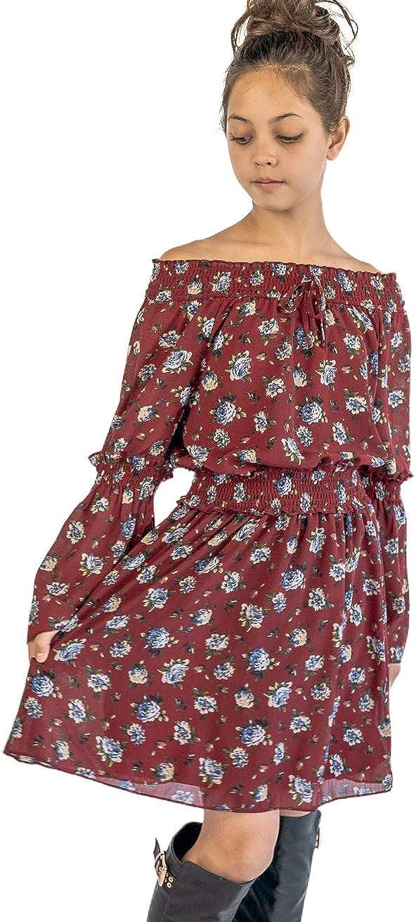 Smukke, Big Girls Elegant Floral Printed Off The Shoulder Long Sleeves Dress and Rompers, 7-16