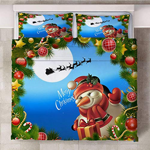 GenericBrands Duvet Cover Set 3 Piece Christmas snowman with wreath-240x220cm(94x87 inch) Quilt Duvet Cover with Zipper Closure 3 Pieces Hypoallergenic Soft Microfiber Bedding Set with 2 Pillowcases