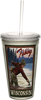 Tree-Free Greetings cc33297 Vintage Wisconsin Fly Fishing by Paul A. Lanquist Artful Traveler Double-Walled Cool Cup with ...