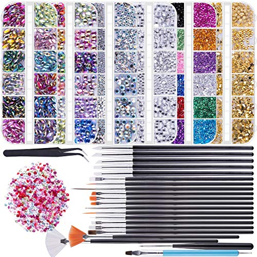 Duufin 6 Boxen Strasssteine Nägel Kristalle 15 Stück Nail Art Pinsel Set 5 Stück Strass Picker Dotting Pen und 1 Stück Pinzette für Nägel Kunst Dekoration