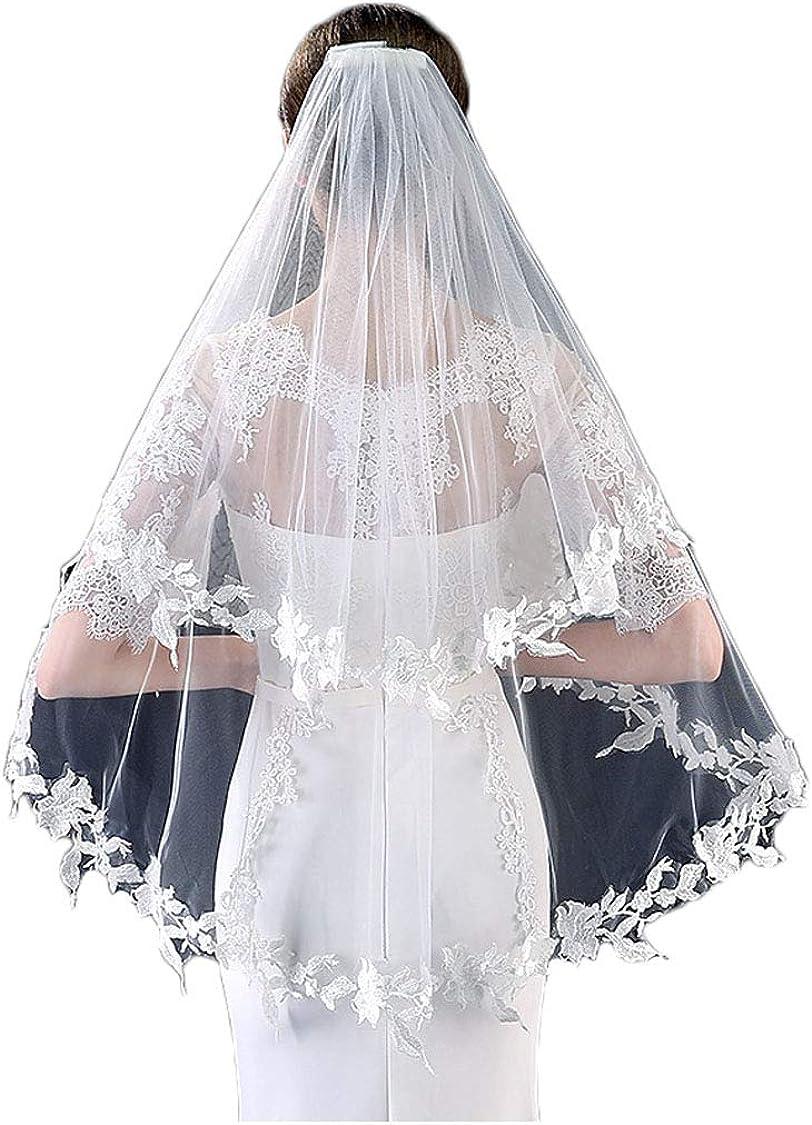 2T Romantic Wedding Veil Lace Veils for Brides short with Headpiece free Comb