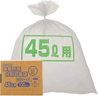 オルディ 容量表示付き ごみ袋 ステッカーを貼るのに便利 半透明 45L 横65×縦80cm 厚み0.018mm 収納場所に困らない コンパクトBOX入り ポリ袋 JBB-N45-100 100枚入
