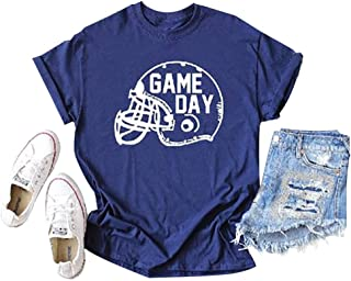 Super Bowl Game Day Letter Printed Champions Shirt Short Sleeve Crewneck Casual Tee Tops
