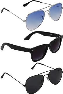 Dervin Unisex Adult Aviator Sunglasses Blue & Black Frame, Blue & Black Lens -Pack of 3