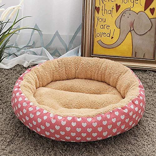 BACKZY MXJP Perrera Beige/Rosa + Suministros para Mascotas De Moda En Forma De Corazón Arena para Gatos Perrera Pequeño Perro Mediano 50 * 50 * 14 Cm Alfombrilla para Perros