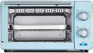 PLEASUR Mini Horno de 11L, Horno de Banco 1000W Parrilla Doble con Temporizador de 60 Minutos Incluye Bandeja de escoria separada 8 alitas de Pollo, Pastel de Gasa de 8 Pulgadas (Color: Azul)