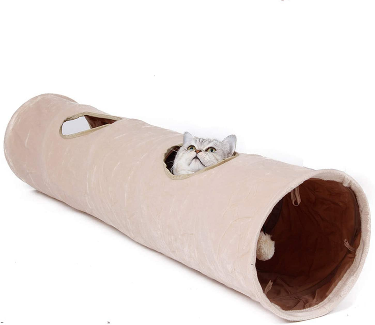 PENVEAT Pet Tunnel Long 120cm 2 Holes Cat Puppy Rabbit Teaser Funny Hide Tunnel Toys With Ball Collapsible Cat Tunnel,Beige,L