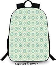 Notebook computer schoolbag,Retro Disc Shaped Inner Circles with Nostalgic Featured Geometric Graphic Backpack Cool Children Bookbag, Seafoam Almond Green