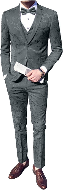 Wemaliyzd Men's 3 Piece Jacquard Wedding Suit Paisley Pattern Blazer Vest Pants
