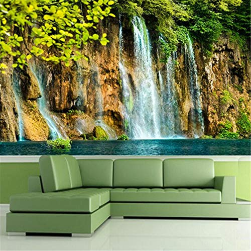 GBHL Decoración de acantilado en cascada con calidad de lujo HD de bosque virgen HD 3D, 200x140 cm (78.7 por 55.1 pulg.)