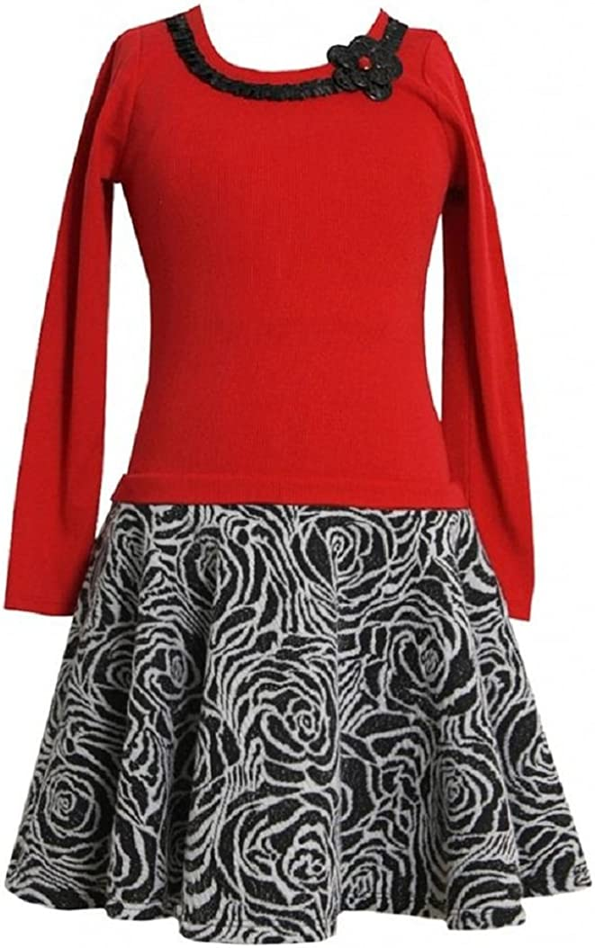 Bonnie Jean Red Rib Knit to Textured Floral Skirt Dress RD8MH Girl Plus-Size Special Occasion Flower Girl Holiday BNJ Social Dress, Red
