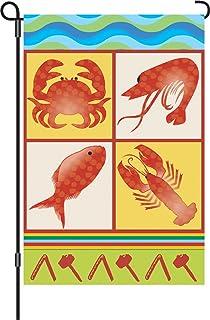 Premier Kites 51647 Garden Brilliance Flag, Seafood Feast, 12 by 18-Inch