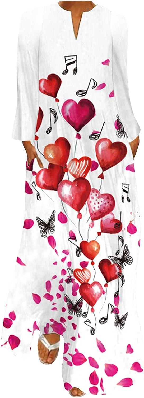 Plus Size Casual Loose Maxi Dress for Women, V Neck Long Sleeve Elegant Boho Printing Dresses Beach Sundresses