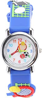 Hemobllo Enfants Dessin Animé 3D Montres Silicone Tennis Football Pointeur Montres Enfants Sport Montres-Bracelets Temps E...