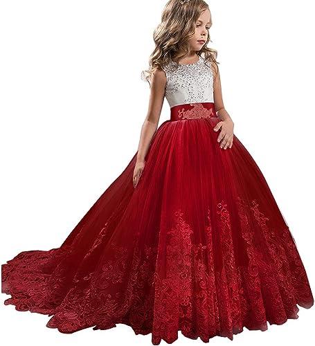 W&TT Mariage Fleur Filles Applique Tulle Dentelle Danse Pageant Robes Enfants Bal Puffy Robe de Bal avec Noeud,rouge,160cm