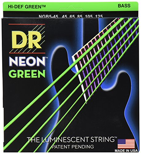 DR NGB5-45 NEON HiDef Green Bass, medium 5-string