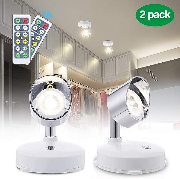 Elfeland LED 壁橱灯 LED 聚光灯无线冰球灯带远程电池供电的重点灯可调光柜灯带可旋转灯头棒在任何地方室内暖白色 2 包