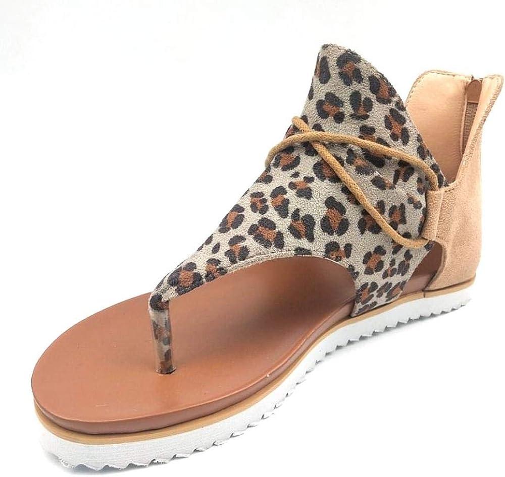 Gets Espadrille Sandals for Women Ankle Strap Leopard Sandals Op