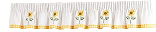 SUNFLOWER GINGHAM YELLOW EMBROIDERED 136X10 PELMET TO MATCH KITCHEN CURTAIN DRAPES