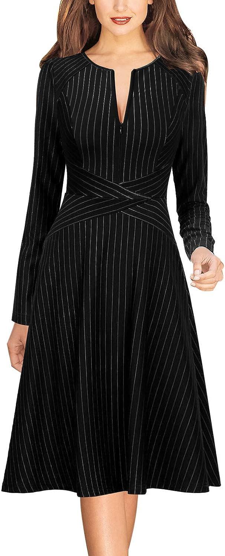Vfshow Womens Elegant Front Zipper Slim Work Business Office Party Cocktail A-Line Dress