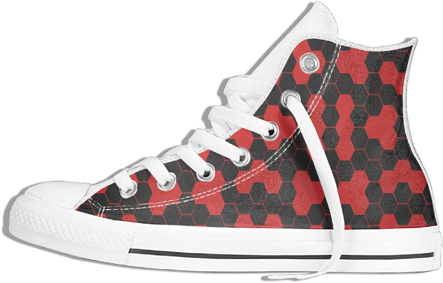 Efbj Red and Black Pentagon Unisex Sport High Top Sneakers shoes for Men and Women